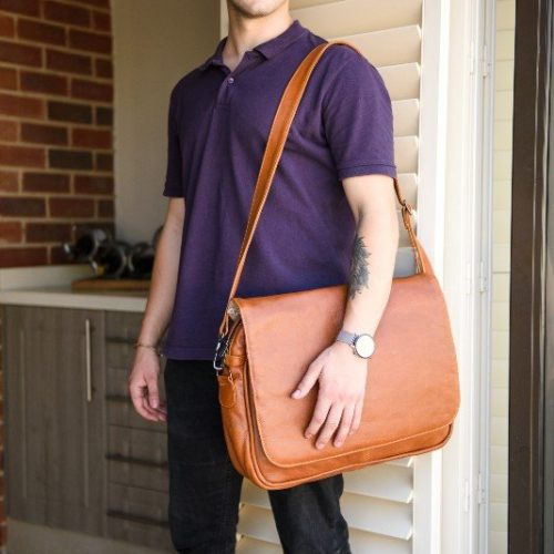 Maribu Leather laptop messenger bag